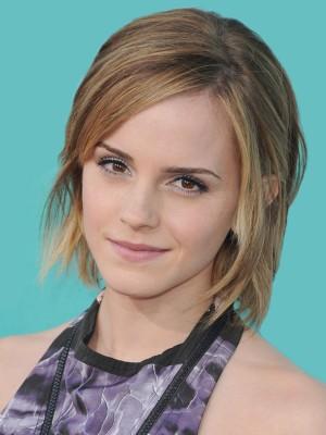 Bequem Gerade Spitzefront Emma Watson Echthaar Perücke