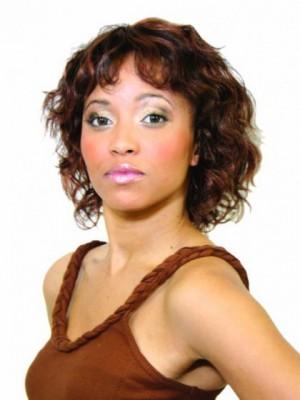 Luxus Mittle Wellige Synthetisch Perücke Für Afroamerikanerinen