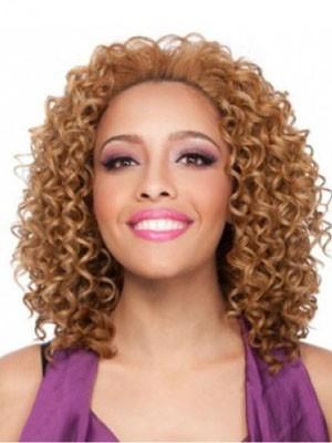 Lockige Mittle Populäre Afro Amerikanisch Perücke Ohne Fransen