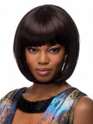 Kappenlos Gerade Liebliche Afro Amerikanisch Perücke