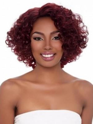 Komfortable Lockige Romantische Afro Amerikanisch Perücke Ohne Fransen