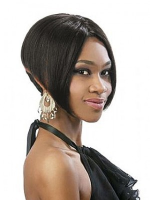 Niedliche Kurze Gerade Vollspitze Afro Amerikanisch Perücke