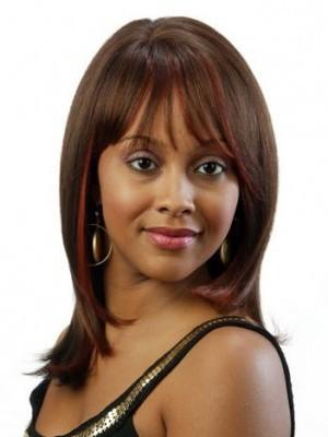 Sehr Gut Gerade Braun Remy Haare Afro Amerikanisch Perücke