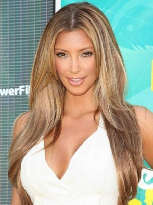 Kim Kardashian Verlockende Zentrale Trennung Gerade Perücke