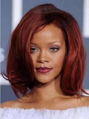 Mittle Gerade Spitzefront Rihanna Frisur Perücke