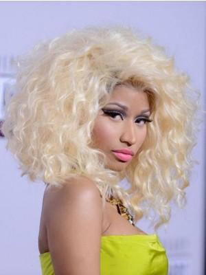 Nicki Minaj Mittle Wellige Handgebundene Flockig Styling Perücke
