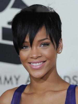 Kurz Rihanna Frisur Spitzefront Gerade Perücke