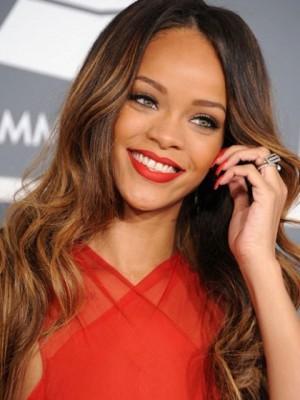 Kappenlose Rihanna Lange Wellige Zaubenhaft Perücke