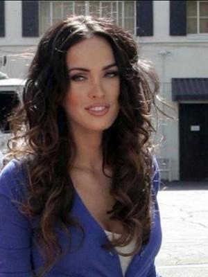 "Megan Fox 20"" Indianische Remy Haar Wellig Perücke"