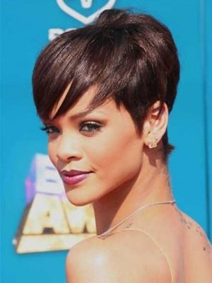 Sexy Rihanna Frisur Gerade Kurz Perücke
