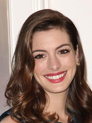 Wellige Vollspitze Anne Hathaway Menschliche Haare Perücke