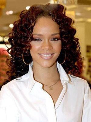 Rihanna Lockige Spitzefront Sanfte Synthetische Perücke