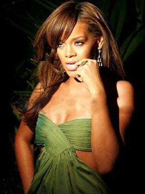 Rihanna Synthetische Spitzefront Lange Gerade Perücke