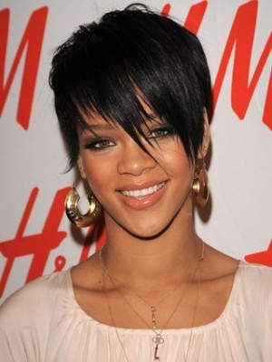Rihanna Auffällige Kurz Frisur Perücke mit Franse