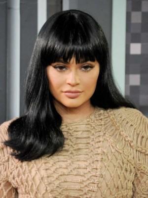 Wunderbar Kylie Jenner Gerade Kappenlos Echthaar Perücke