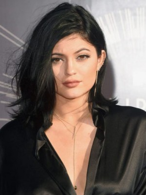 Perfekt Gerade Kylie Jenner Echthaar Spitzefront Perücke