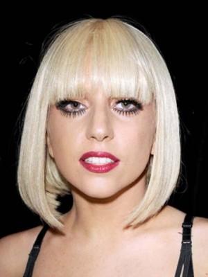 Neu Stil Gerade Lady Gaga Kappenlos Synthetische Perücke