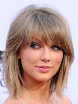 Zauberhaft Taylor Swift Gerade Kappenlos Echthaar Perücke