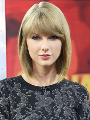 Taylor Swift Sympathische Gerade Kappenlos Echthaar Perücke