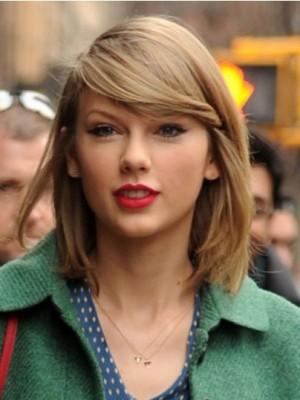 Schimmernd Taylor Swift Gerade Kappenlos Echthaar Perücke