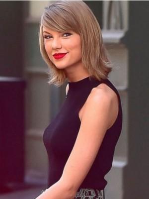 Preiswert Gerade Taylor Swift Kappenlos Echthaar Perücke