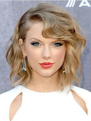 Taylor Swift Luxuriöse Wellig Spitzefront Echthaar Perücke