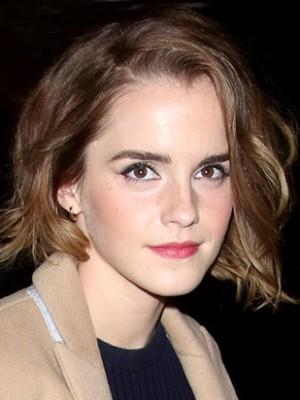 Emma Watson Handgebundene Wellig Spitzefront Echthaar Perücke