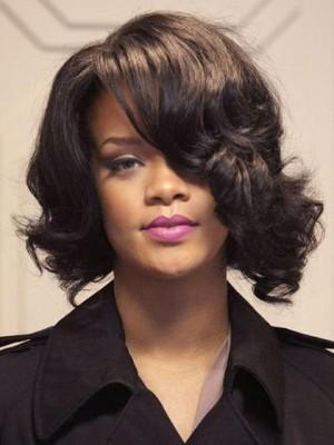 Mittle Rihanna Frisur Spitzefront Wellig Perücke