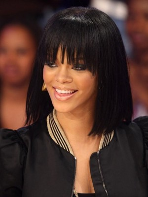 Bob Styling Rihanna Dunkel Schwarz Gerade Perücke