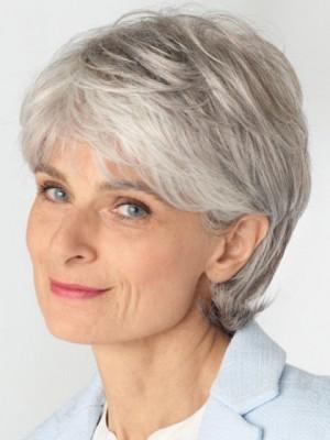 Perfekt Gerade Spitzenfront Graue Perücke Für Frauen