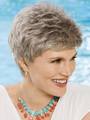 Nette Komfortable Grau Perücke Für Damen