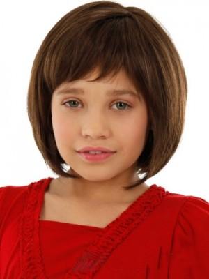 Moderne Braun Spitzefront Kinder Perücke