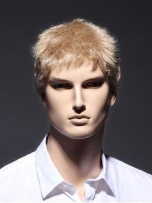 Schöne Vollspitze Kurz Blonde Remy Echthaar Männer Perücke