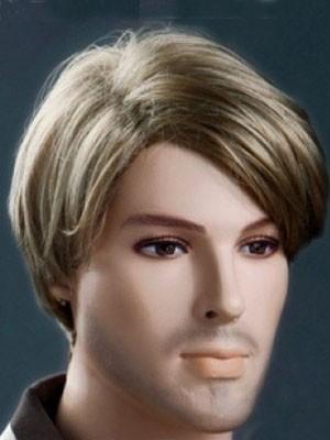 Staunenswert Sanft Blonde Kurz 6 Inch Männer Perücke