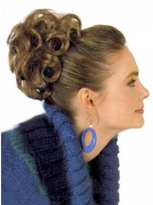 Synthetische Braune Lockig Haarkranz Mit Druckempfindliche Clips
