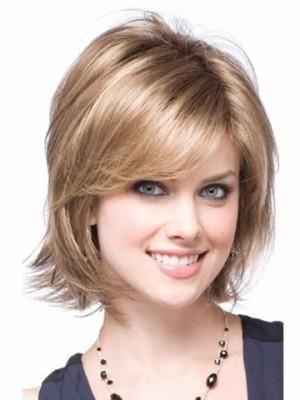 Mittlerlänge Blonde Luxus Synthetische Perücke