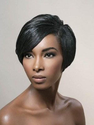 Afroamerikaner Wunderbare Gerade Synthetische Spitzefront Perücke