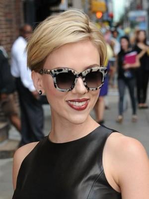 Komfortable Gerade Scarlett Johansson Spitzefront Echthaar Perücke